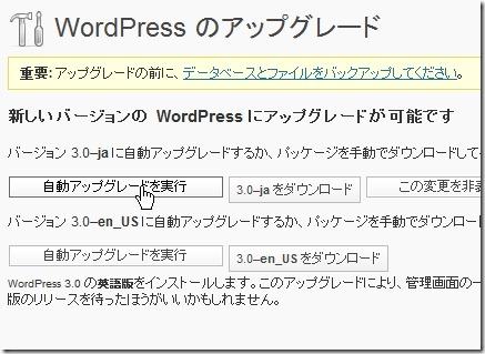 WordPress3.0自動アップグレード